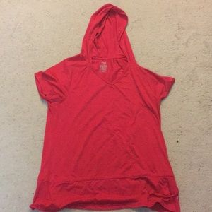 Pink workout Shirt with Hood